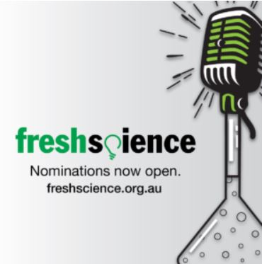 Fresh Science logo - microphone on a grey background with words nominations now open